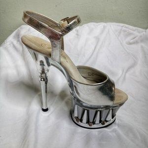 "Pleaser Spiky silver 6 1/2"" platform heels shoes 6"